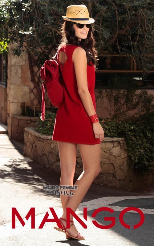 Robe droite courte sans manches rouge