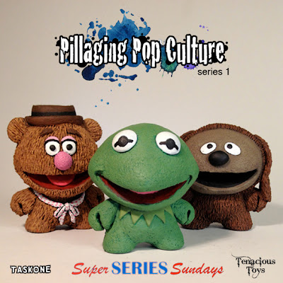 """Pillaging Pop Culture"" Custom The Muppets Blind Box Series Wave 1 by Task One - Fozzie Bear, Kermit the Frog & Rowlf"