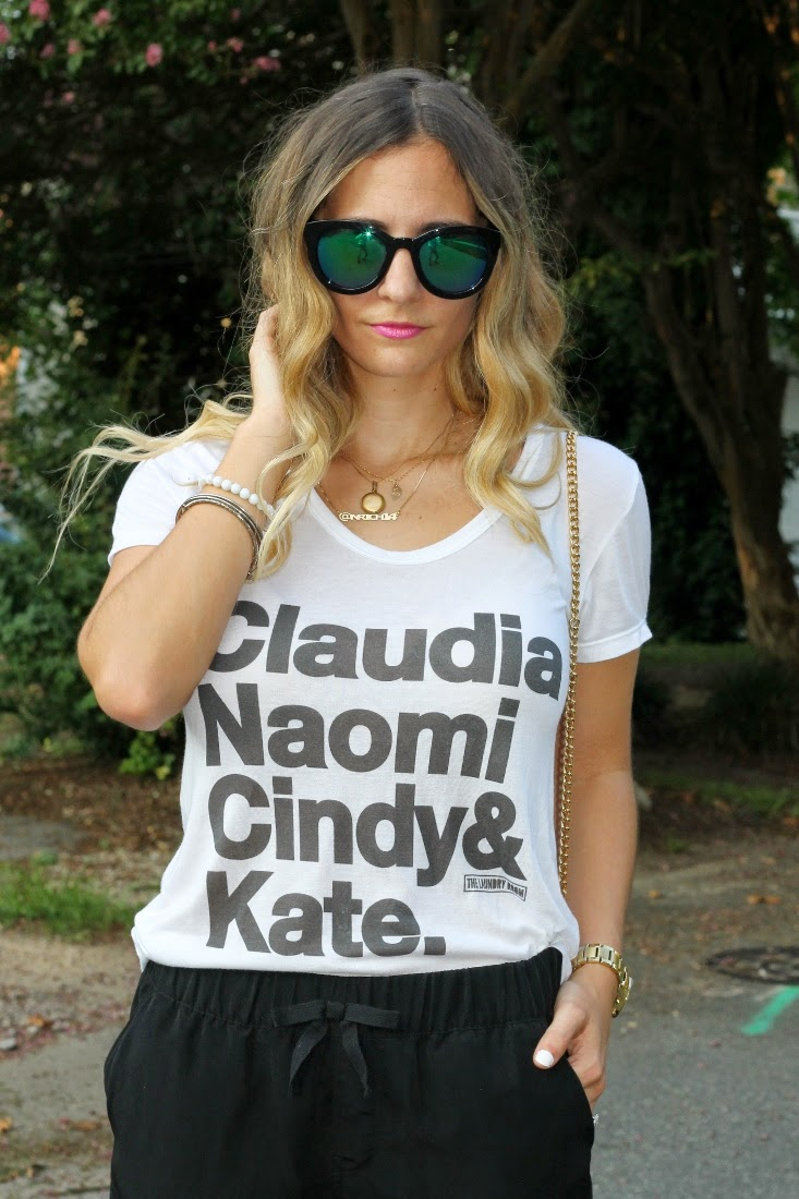 90's Supermodel Name Tshirt - Blue Green Mirrored Sunglasses