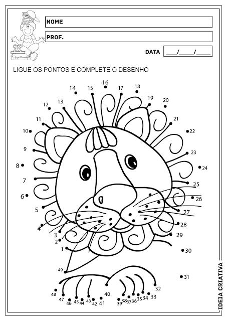 Liga Pontos Animais Atividade Educação Infantil