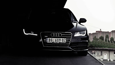Black Audi A7 in Dark Headlights HD Wallpaper