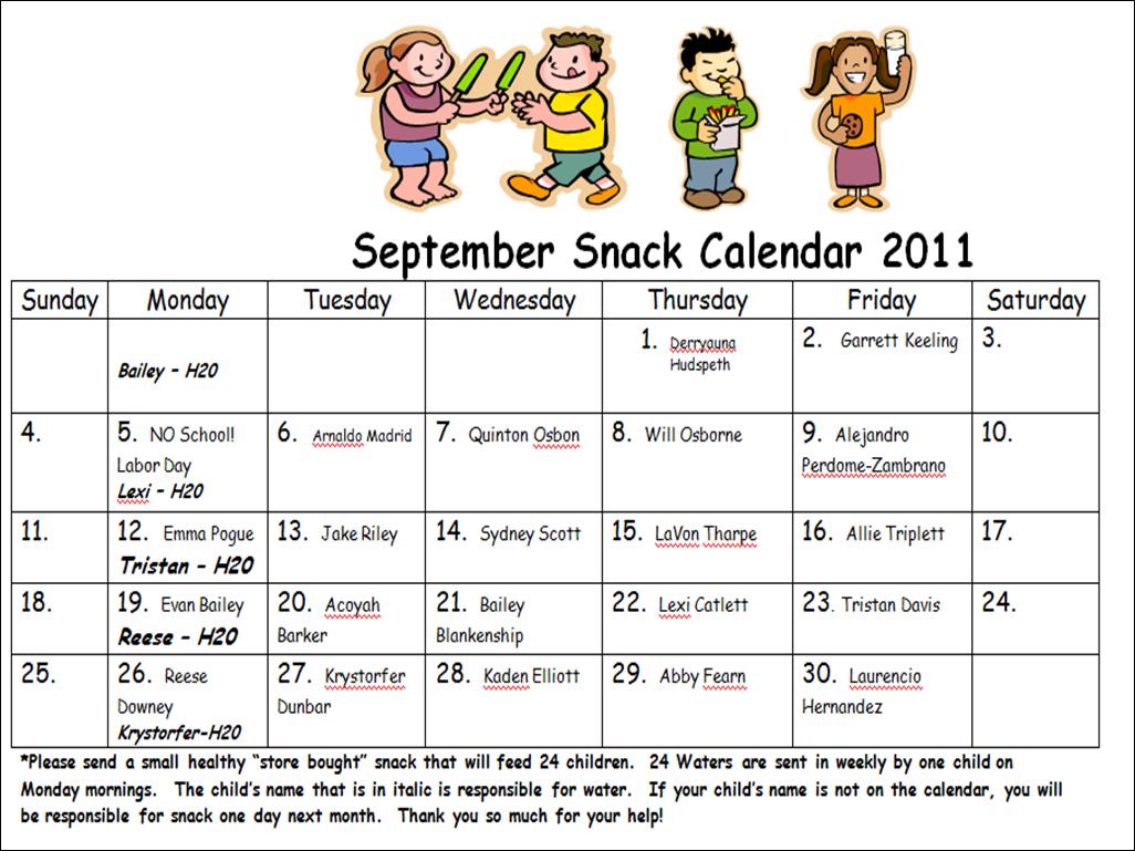 Snack Calendar Printables : Mr brown s kindergarten news snack calendar