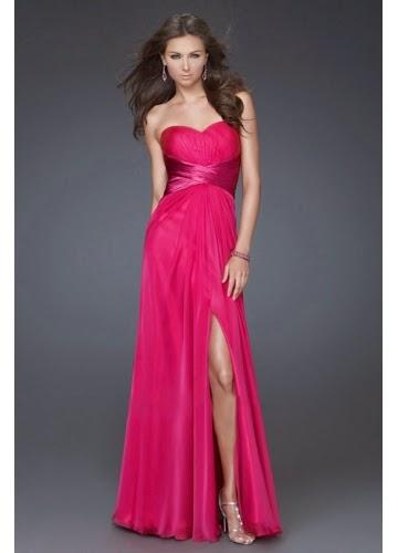 Elegant long prom dresses pink