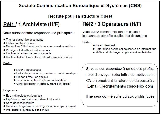 soci u00e9t u00e9 communication bureautique et syst u00e8mes  cbs  2013