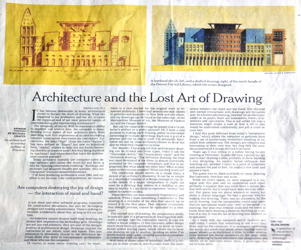 Michael Graves Drawings Essay by Michael Graves in