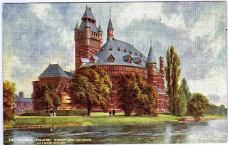 Vintage postcard of the Memorial Theatre, Stratford-on-Avon, Warwickshire