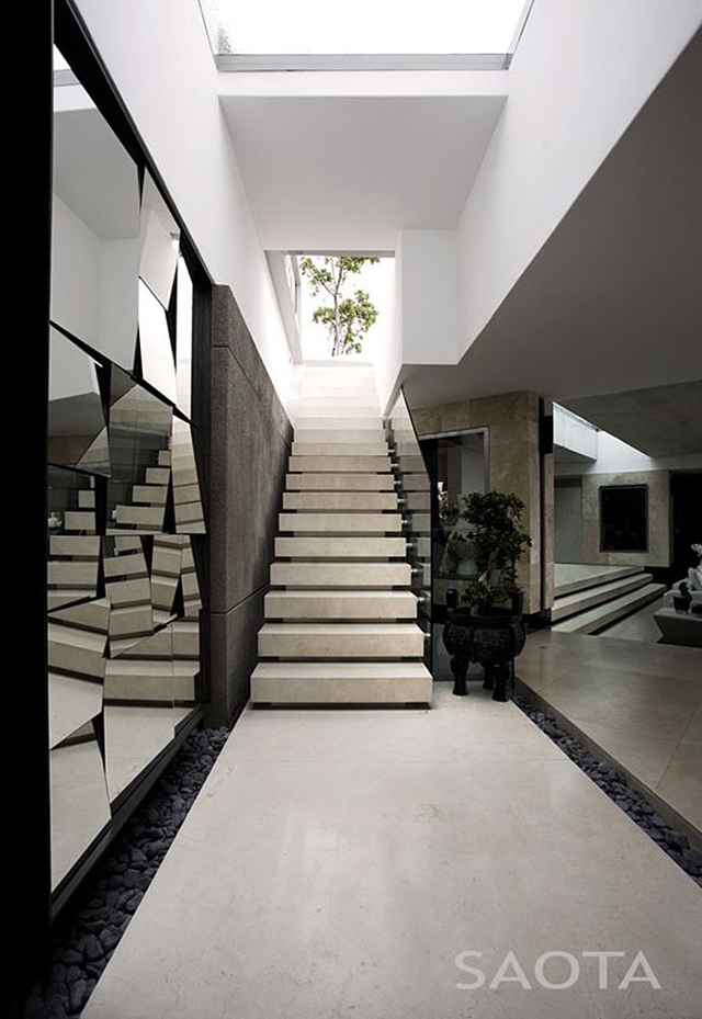 Picture of modern stone staircase to the upper floor