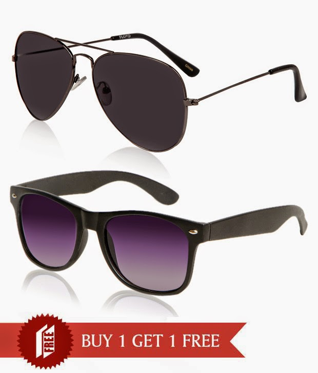Snapdeal: Buy Floyd Gun Metal & Black Lens Sunglasses Buy 1 Get 1 Free at Rs.259 only