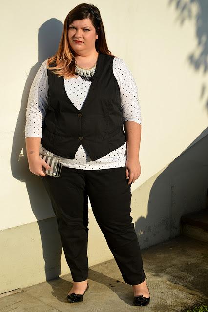 outfit plus size/curvy bianco e nero