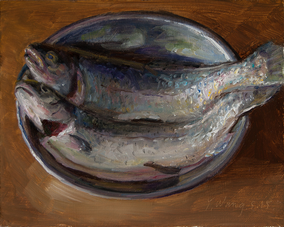 Wang fine art fish oil painting original still life daily for Paintings of fish