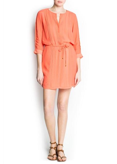 turuncu bol kesim gündüz elbisesi