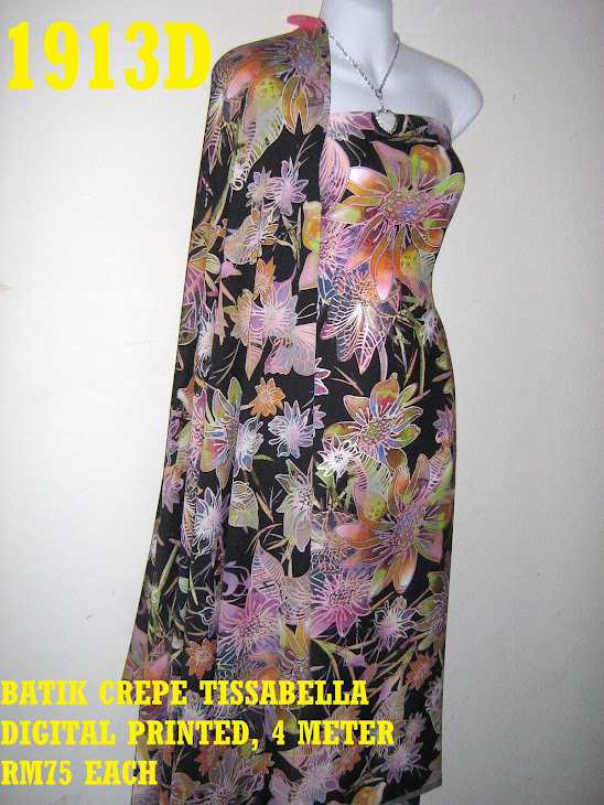 BTD 1913D: BATIK CREPE TISSABELLA DIGITAL PRINTED, EXCLUSIVE DESIGN, 4 METER