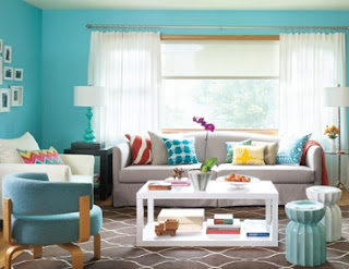 ruang tamu tema biru