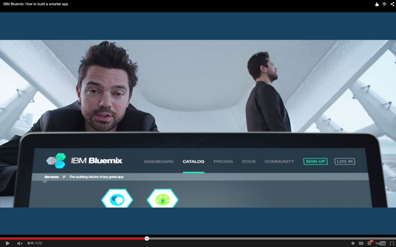 Bluemix YouTube: Bluemix UI Banner and Catalog