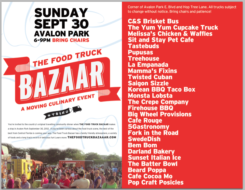 Avalon Park Gets A Visit From The Food Truck Bazaar Tonight Sep - Avalon truck