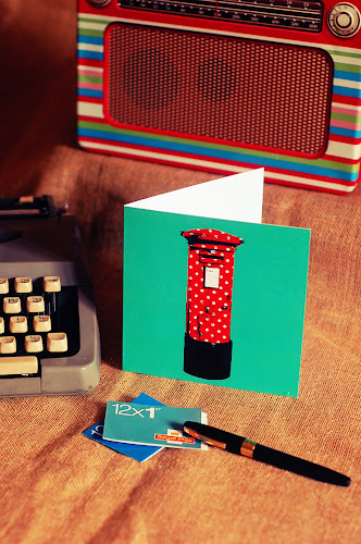 Vintage Retro Greeting Thank you Card Polka Dot Postbox