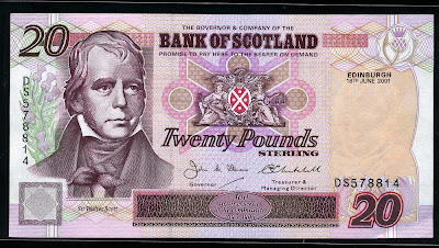 Bank of Scotland money 20 Scottish Pounds notes