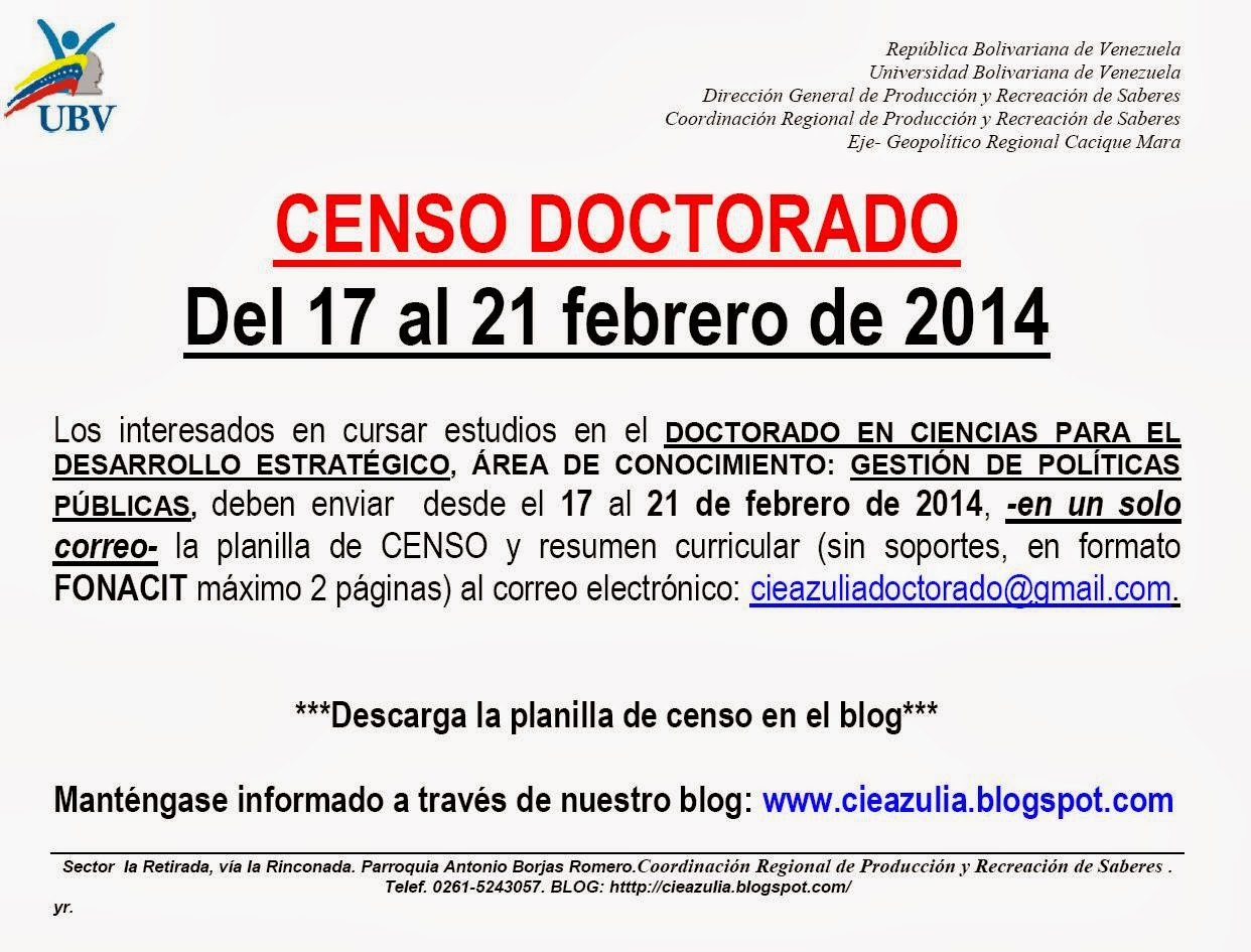 BLOG CRPRS ZULIA: CENSO. DOCTORADO EN CIENCIAS PARA EL DESARROLLO ...