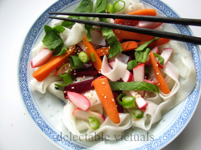 Wide Rice Noodles with Pickled Beets, Radish, Carrots