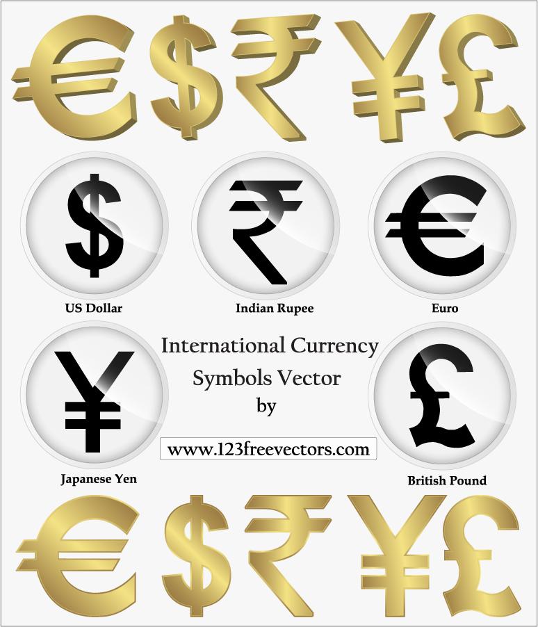 通貨単位のシンボル アイコン International Currency Symbols Vector イラスト素材