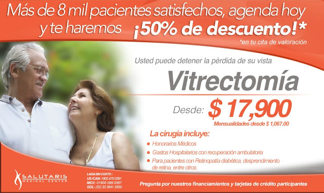 Vitrectomia cirugia para desprendimiento de retina en guadalajara precio costo paquete