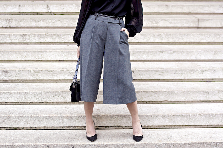 How to wear culottes trousers fashion blogger outfit idea , come indossare i pantaloni a culottes gonna pantalone idea look