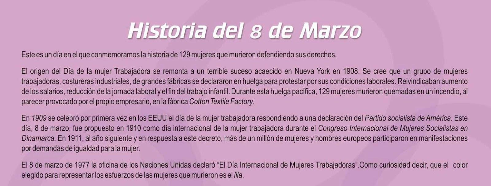 HISTORIA 8 MARZO DIA INTERNACIONAL MUJER