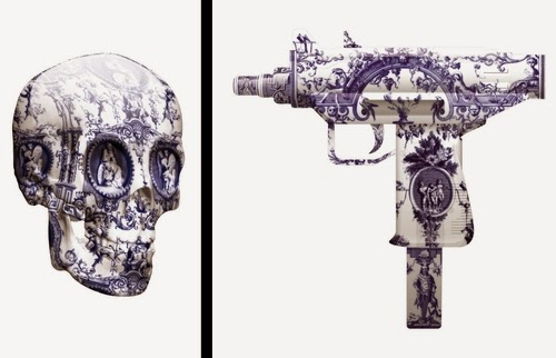 00-Delft-Skull-and-Machine-Gun-Delft-Porcelain-British-Artist-Magnus-Gjoen-www-designstack-co