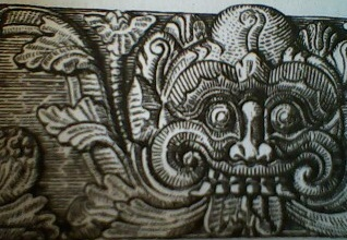 ukiran kayu motif kedok dari Bali