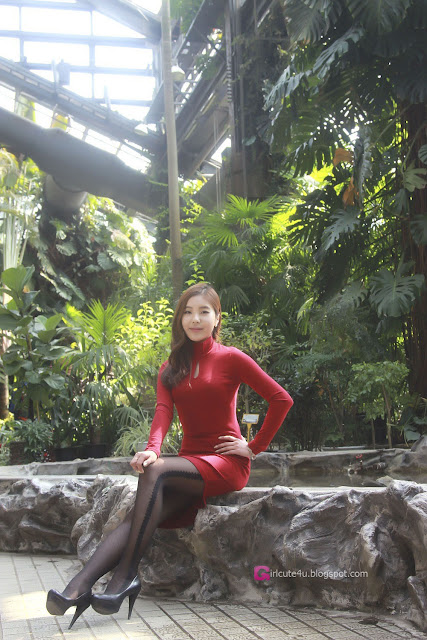 2 Kim Ji Na in Red - very cute asian girl - girlcute4u.blogspot.com