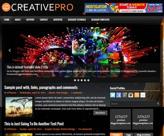CreativePro is a Responsive, 2 Columns Blogger Template with Auto Read More Feature. CreativePro Blogger Template has Social Buttons, jQuery Content Slider, Top Menu, 468x60 Header Banner, Related Posts, Breadcrumb, 3 Columns Footer, Tabbed Widget and More Feature