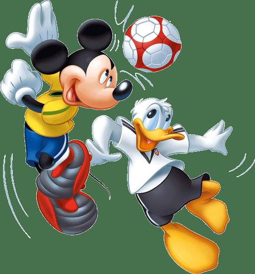 mickey y donald jugando al futbol