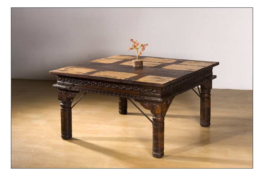 Jodhpur Furniture Carved Upcycled Coffee Table