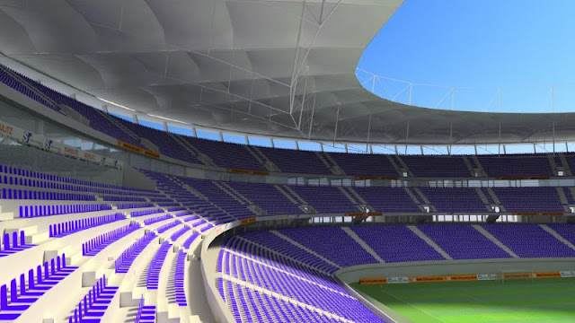 As arquibancadas da Arena Fonte Nova foram verticalizadas para melhor visualização do campo