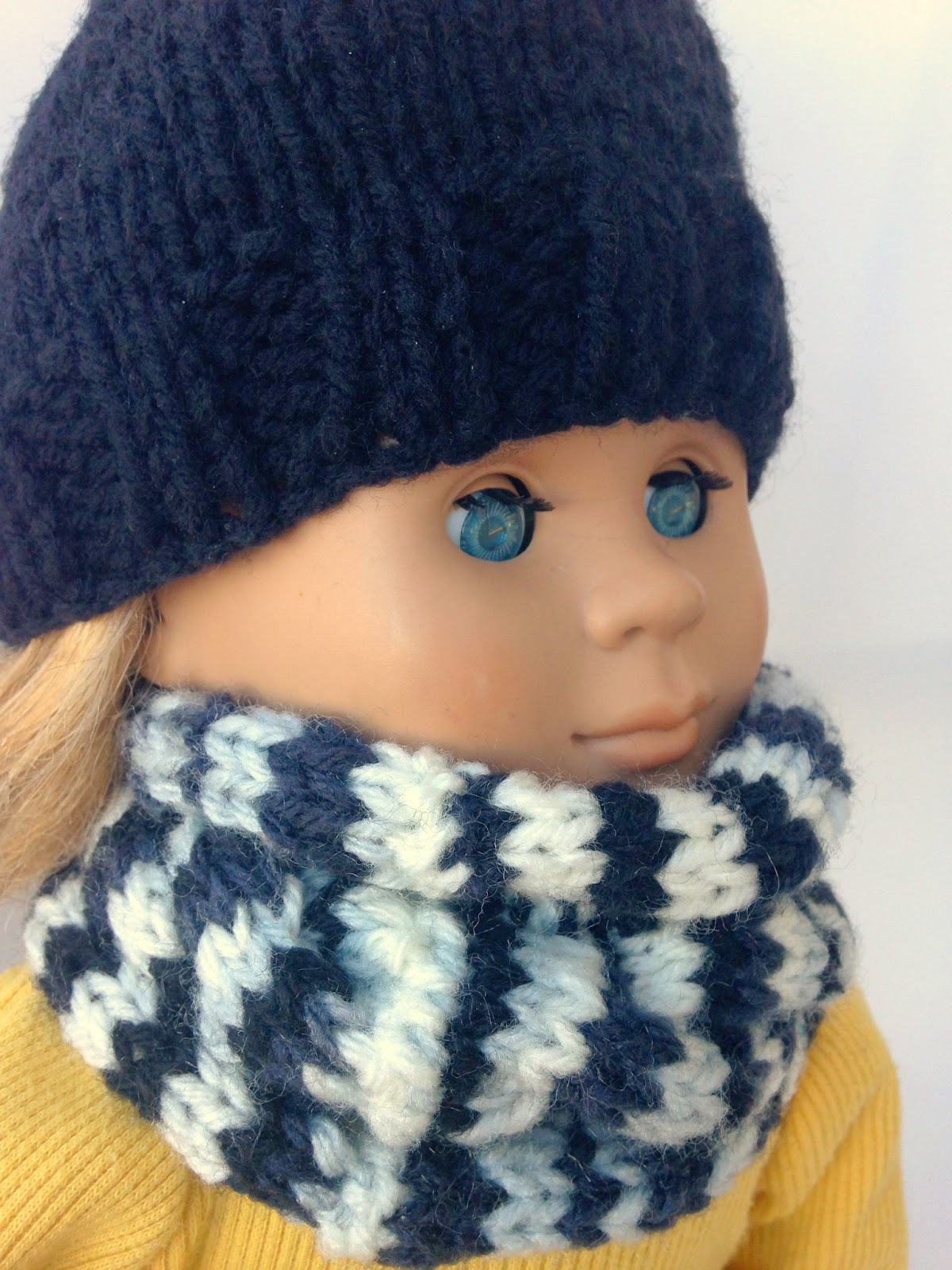 Knitting Pattern For Dolls Beanie : 5 Little Monsters: Knit Doll Cowl and Beanie
