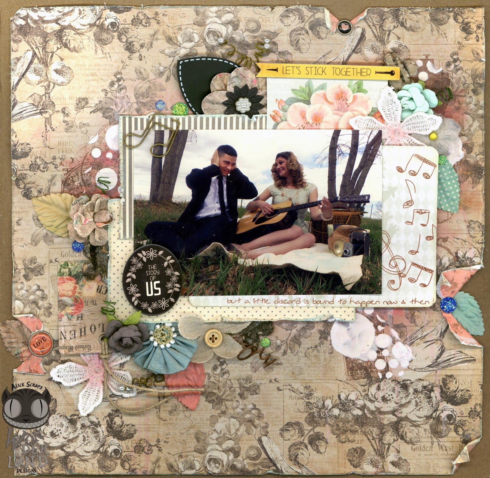 Lets Stick Together An Engagement Scrapbook Layout Alice Scraps