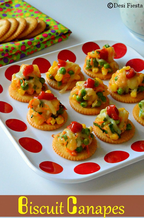 Desi fiesta biscuit canapes with vegetable topping for How to make canape