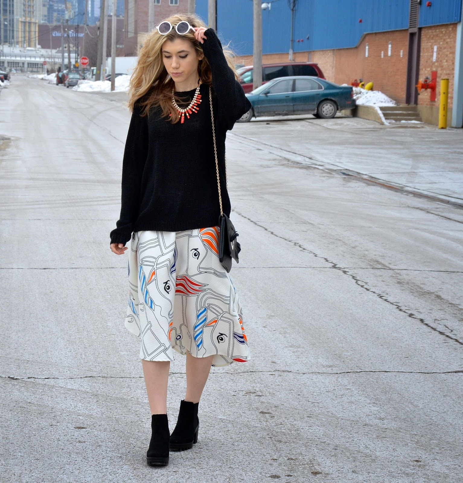 midi skirt, oversized sweater, winter blogger outfit, style blogger, street style