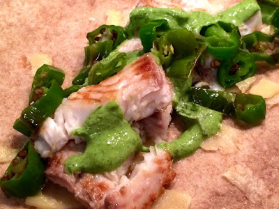 Cook food mostly plants fancy fish tacos with cilantro for Greek yogurt fish taco sauce