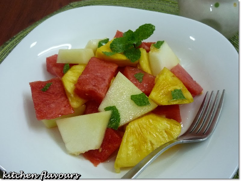 fruit salad with kaffir lime syrup the fruits that i ve used are ...