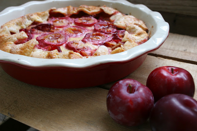 Plum & Orange Flower Custard Galette