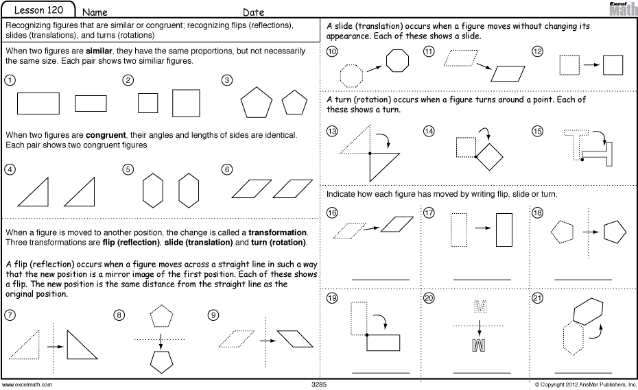 math worksheet : excel math slide flip and turn worksheet  games : Transformation Math Worksheets