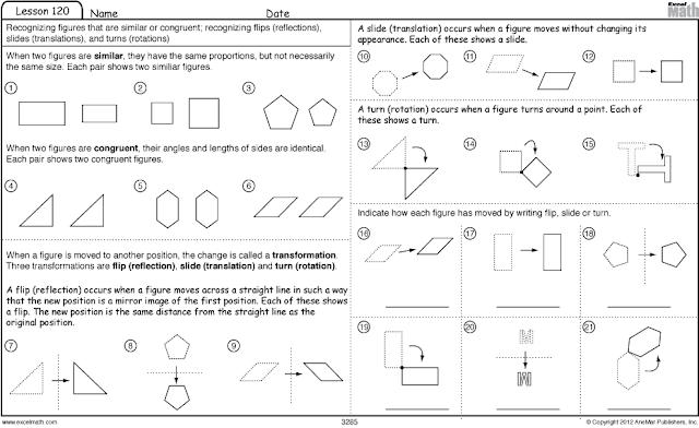 Excel Math 04012012 05012012 – 8th Grade Math Transformations Worksheet