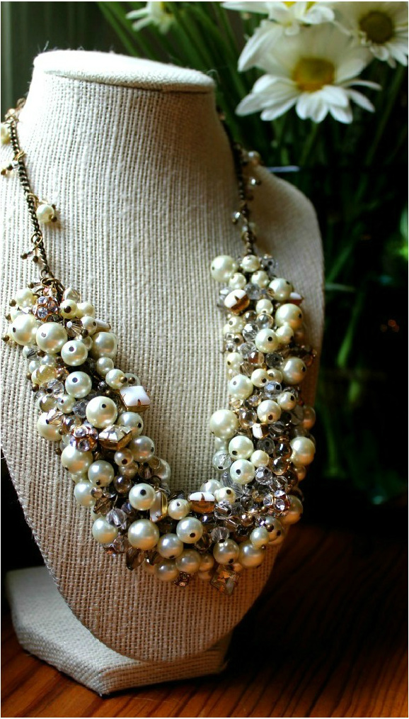 image necklace tutorial diy statement pearls glass beaded wedding bridal miss lovie