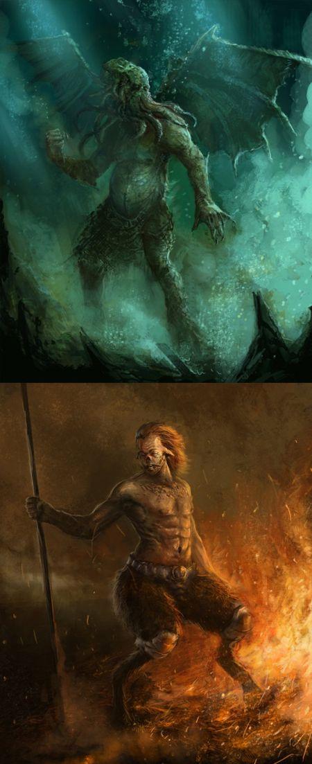 Darek Zabrocki daroz deviantart illustrations concept art fantasy games Concept arts - Cthulhu e Fauno