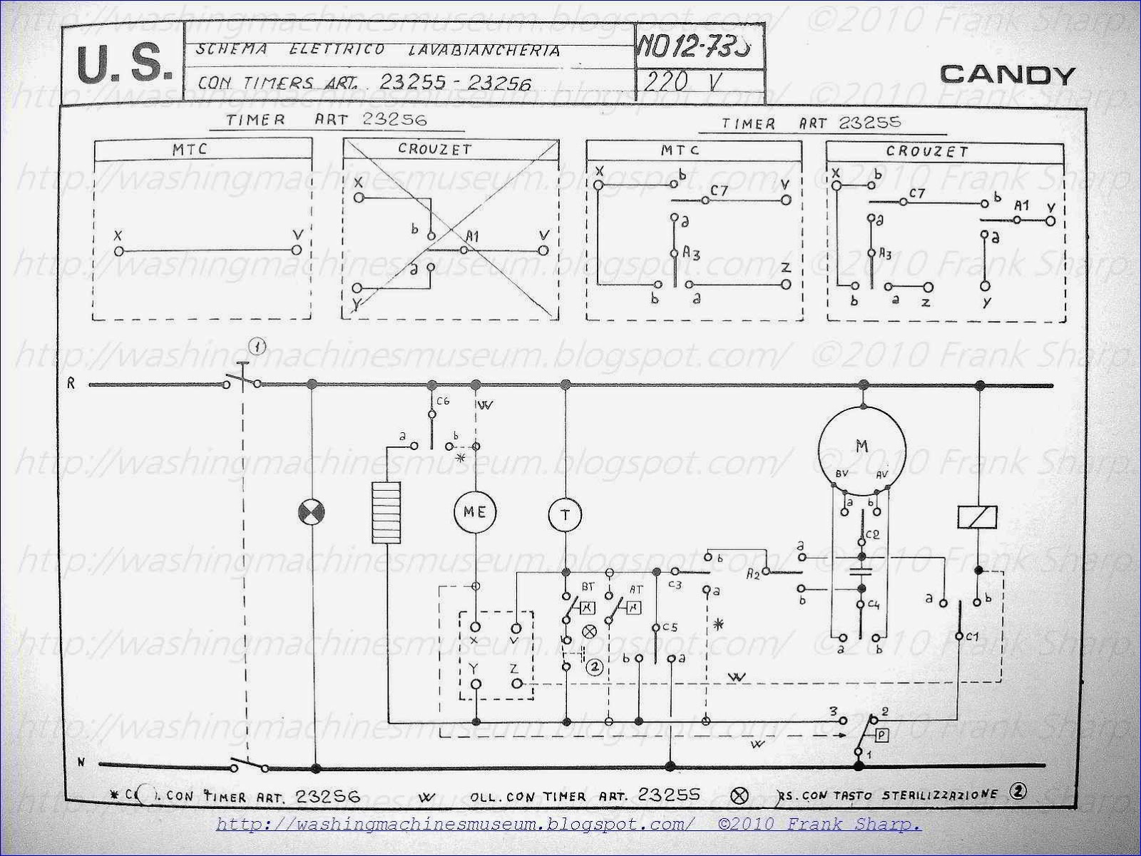 Washer    Rama Museum  CANDY WASHING MACHINE WITH TIMER 23255  23256 SCHEMATIC    DIAGRAM