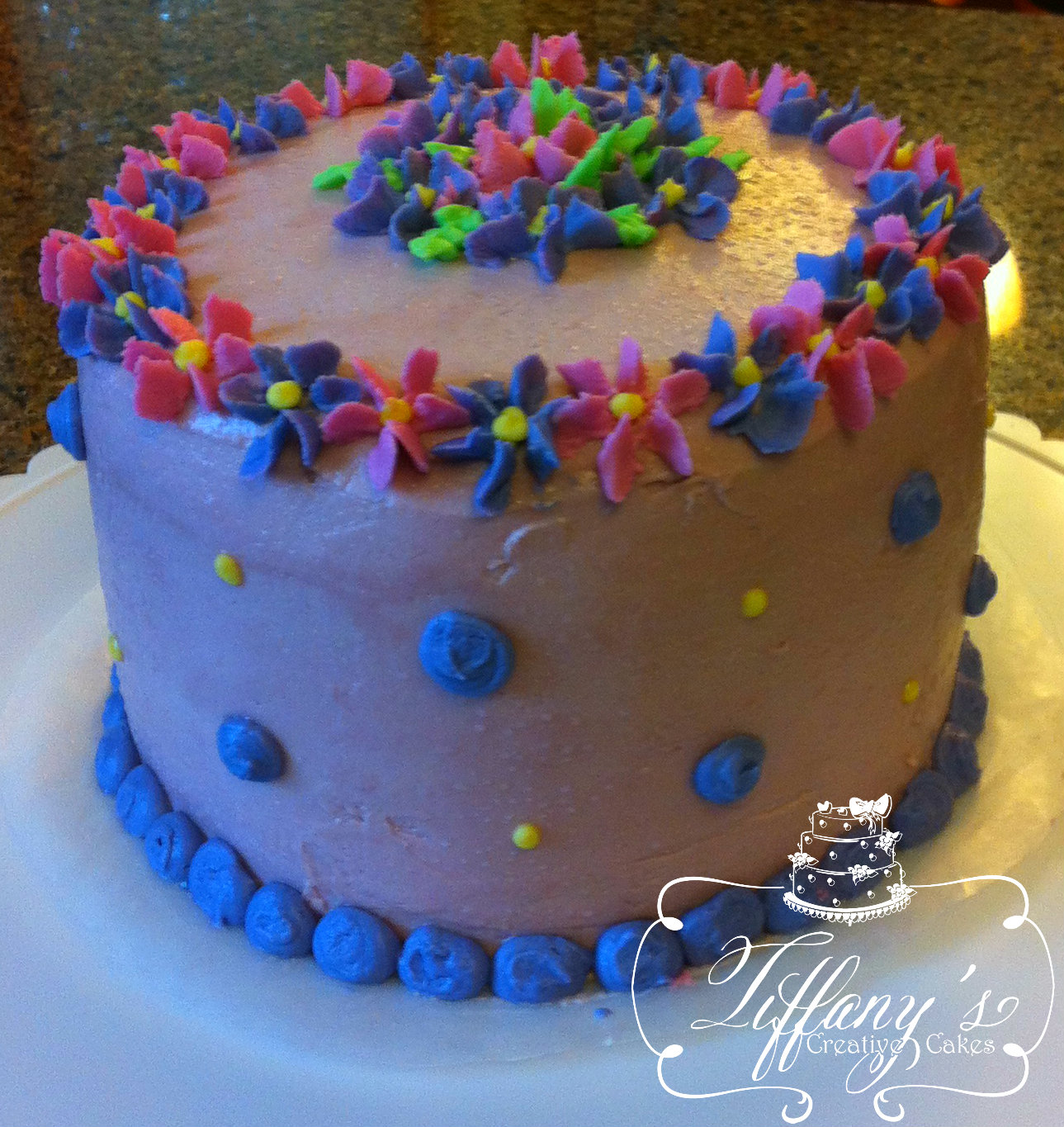 Small Pink And Purple Drop Flower Cake Tiffanys Creative Cakes