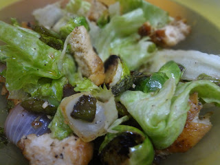 Brussel Sprouts and chicken salad in tangy dressing