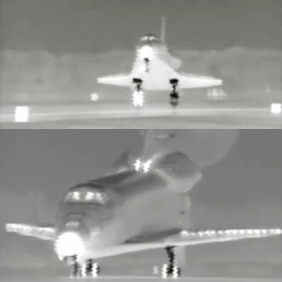 Thermal Images of Shuttle Discovery as it lands. Shows the high temperature of the rear landing gear as the right side touches the runway first. The nose cone and underside are also hot. NASA, 2011.