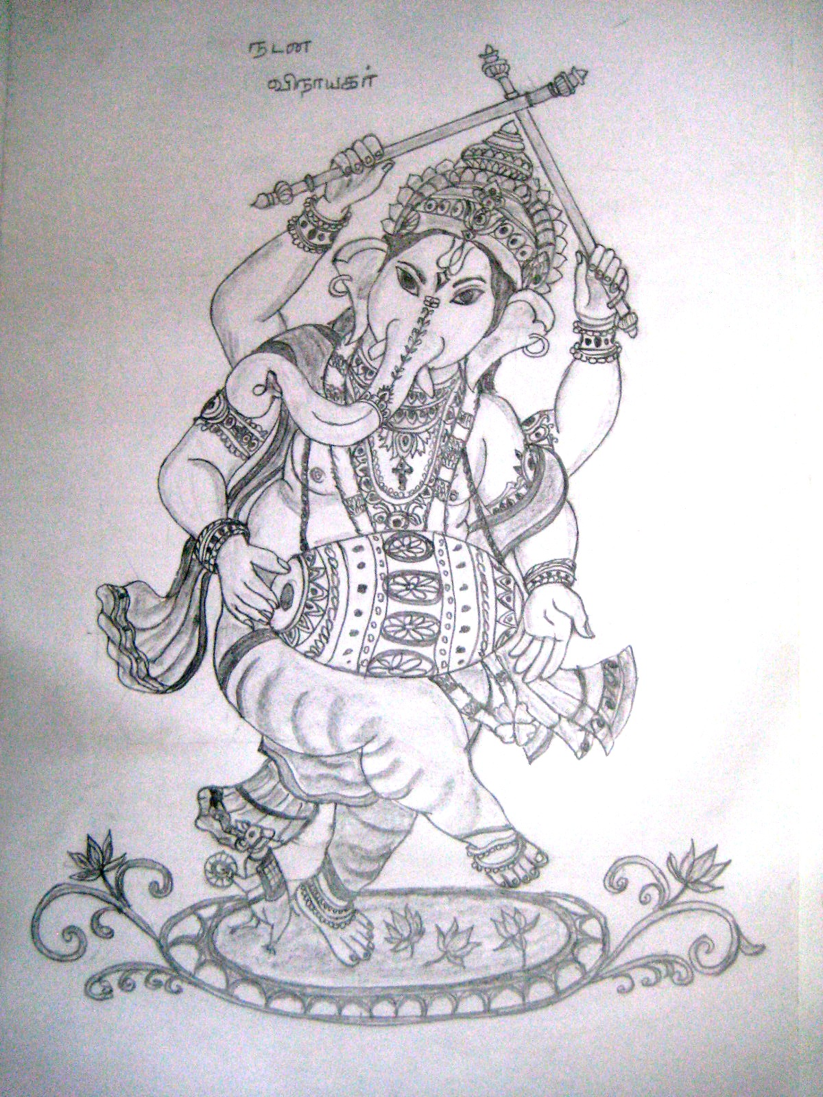 Varthini arts lord vinayagar drawing